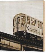 Chicago Metra Sepia Wood Print