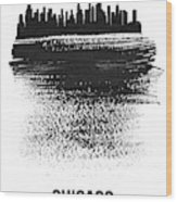 Chicago Skyline Brush Stroke Black Wood Print