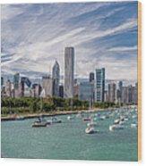 Chicago Skyline Daytime Panoramic Wood Print