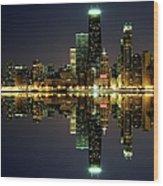 Chicago Skyline Reflected On Lake Wood Print