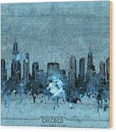 Chicago Skyline Vintage 4 Wood Print