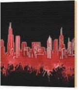 Chicago Skyline Watercolor 5 Wood Print