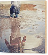 Child In A Puddle Wood Print