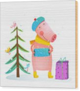 Childish Cheerful Little Pig In Winter Wood Print
