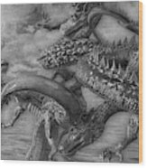 Chinese Dragons In Black And White Wood Print