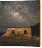 Chisos Mountain Homestead Under The Milky Way Wood Print