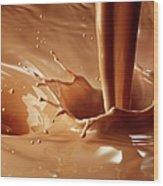 Chocolate Milk Pour And Splash Wood Print
