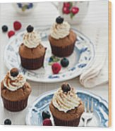 Chocolate Muffins With Berries Wood Print