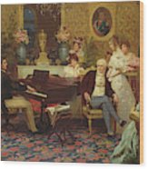 Chopin Playing The Piano In Prince Radziwills Salon Wood Print