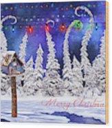 Christmas Card With Bird House Wood Print