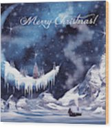 Christmas Card With Frozen Moon Wood Print