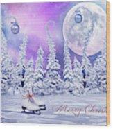 Christmas Card With Ice Skates Wood Print