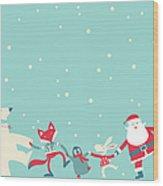 Christmas Dancing Wood Print
