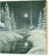 Christmas Night In The Country Wood Print