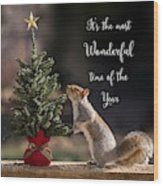 Christmas Squirrel Most Wonderful Time Of The Year Square Wood Print