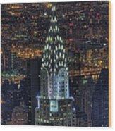 Chrysler Building At Night Wood Print