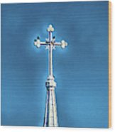 Church Steeple In Macon Ga Next To The Hospital  Wood Print