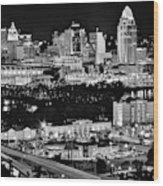 Cincinnati Covington And Ohio River Wood Print