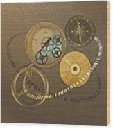 Circular Objects And Binary Code, Cg Wood Print
