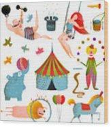 Circus Carnival Show Clip Art Vintage Wood Print