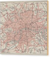 City Map Of London, Lithograph Wood Print