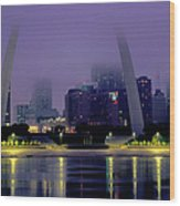 City Skyline In Fog, With Gateway Arch Wood Print