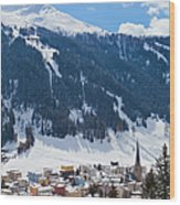 Cityscape Of Davos, Grisons, Switzerland Wood Print