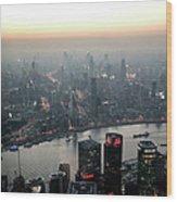 Cityscape Puxi Shanghai Wood Print