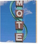 Classic Motel Sign Wood Print