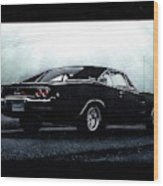 Classic Muscle Car In Black During Fog Wood Print