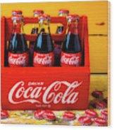 Classic Six Pack Of Cokes Wood Print