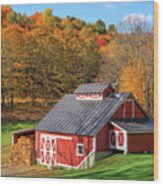 Classic Vermont Maple Sugar Shack Square Wood Print