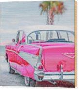 Classic Vintage Pink Chevy Bel Air  8x10 Scene Wood Print