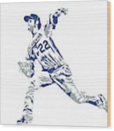 Clayton Kershaw Los Angeles Dodgers Pixel Art 30 Wood Print