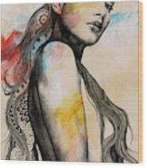 Cleansing Undertones - Zentangle Nude Girl Drawing Wood Print