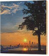 Cleveland Sign Sunrise Wood Print