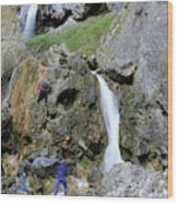 Climbers Making Their Way Up The Cliffs Of Gordale Scar Wood Print
