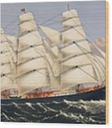 Clipper Ship Three Brothers, The Largest Sailing Ship In The World Published By Currier And Ives Wood Print
