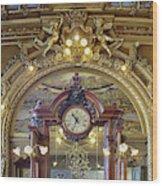 Clock At Le Train Bleu Wood Print