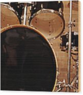 Close-up Of A Drum Kit Wood Print