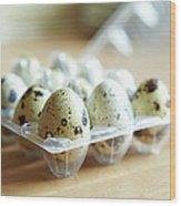 Close Up Of Carton Of Quail Eggs Wood Print