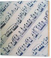 Close-up Of Sheet Music Wood Print