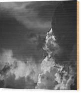 Clouds 6 In Black And White Wood Print