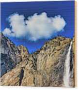 Clouds Abover Upper Yosemite Fall Wood Print