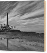 Clouds Over The Chipiona Faro Wood Print