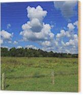 Clouds Surround The Landscape Wood Print