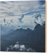 Moody Cloudy Mountains With A Lot Of Contrast And Shadows And Clouds Wood Print