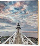 Cloudy Skies At Marshall Point Wood Print