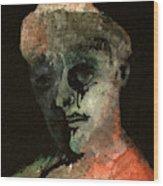 Clown On Black Wood Print