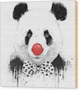 Clown Panda Wood Print
